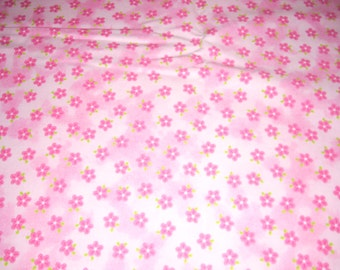 """Pink flowers on pink tonal fabric -  cotton Fabric -  44"""" wide - sold by the yard"""