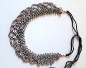 Antique vintage tribal blue & green enamel traditional Kashmir silver necklace from India, Pakistan, Himalaya
