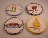 Set of Four Sabbath Themed Moisture Absorbing Ceramic Coasters-