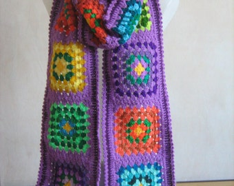 Granny square scarf, afghan crochet, warm, long, purple,lady gift, handmade,patchwork, winter, gorgeous,colorful shawl,hippie style,bohemian