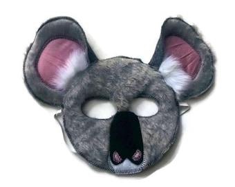 Koala Bear Mask, Koala Mask, Kids Koala Bear Costume, Dress Up, Jungle Animal Birthday Party Favor, Children's Halloween Costume, Adult Mask