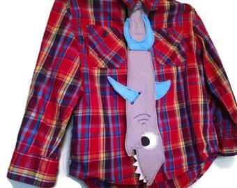 Shark Tie, Kids Neck Tie, Boys Tie, Children's Tie, Dress Up Tie, Custom MADE TO ORDER in Your Choice of Colors