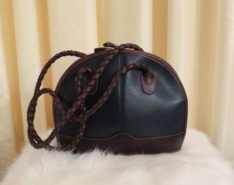 Vintage Ombu Argentina Two Tone Brown and Navy Blue Leather Handbag Shoulder Bag Purse