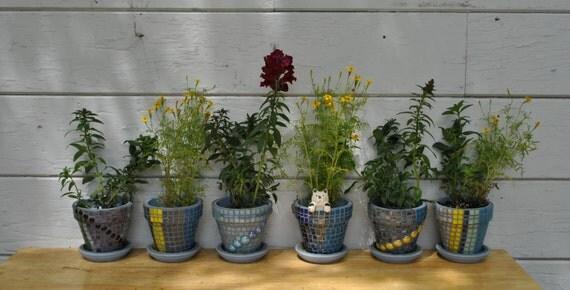 Custom Designed Tile Mosaic Flower Pots - Set of Six - Custom Colors