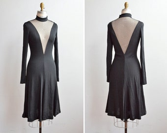 Vintage 1970s DAVID HOWARD plunging mesh party dress