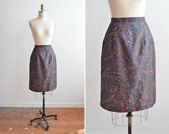 SALE / Vintage 1980s SPLATTER print silk pencil skirt