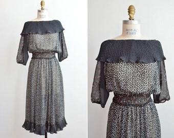 SALE / Vintage 1980s DIANE FRES sheer boho dress