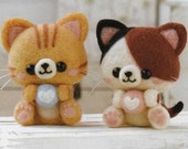 DIY handmade Wool Felt kit Calico cat & Yellow tiger cat -  Japanese Hamanaka kit package H441-427