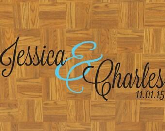 Wedding Dance Floor Decal, Vinyl Decal Couples Names, Initial Monogram Decal    Wedding Name