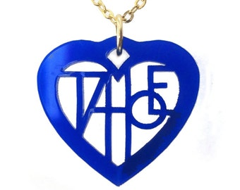 Tahoe Lover's Heart, blue laser cut necklace with gold chain