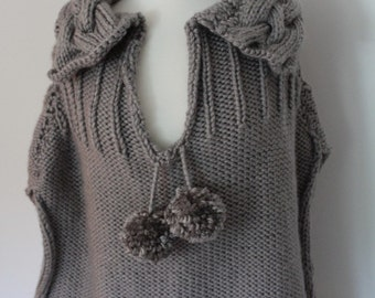 Cape KNITTING PATTERN-Cable Collared Cape. Poncho knitting pattern