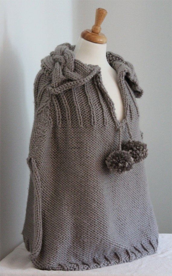 Knitting Pattern Poncho With Collar : KNITTING PATTERN-Cable Collared Cape. Poncho. Capelet knitting
