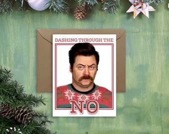 Ron Swanson Christmas Card - ugly sweater holiday card