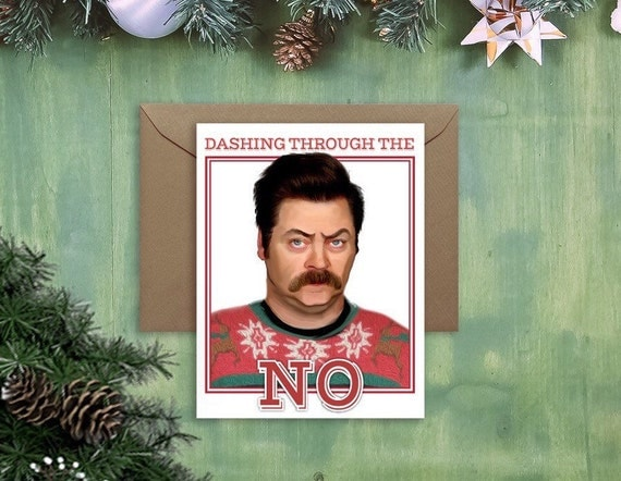 Ron Swanson Christmas Card ugly sweater holiday card