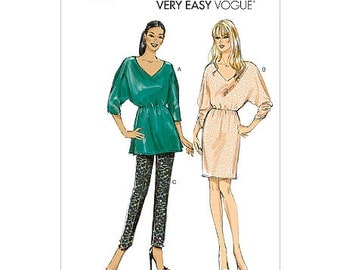 Sz 8/10/12/14/16 - Vogue Separates Pattern V8961 - Misses' Tunic Top, One Piece Dress and Pants - Very Easy Vogue Pattern