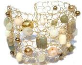 amazonite bracelet wide beaded bracelet arm cuffs gemstome bracelet gold pearl cuff bracelet crystal bracelet knit jewelry neutral trend