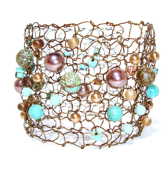 Wide Cuff Bracelet Turquoise Bracelet Gemstone Bracelet Beaded Bracelets Arm Cuff Pearl Cuff Bracelet Wire Knit Bracelet Gift for her