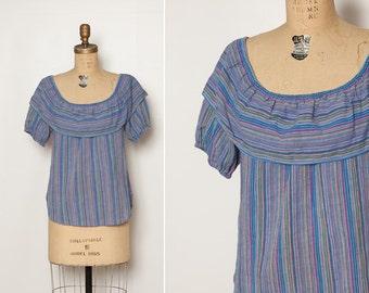 vintage 1970s Levi's blouse purple striped top