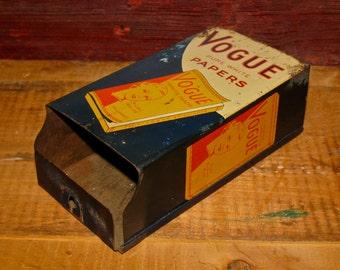 Vintage Vogue Cigarette Rolling Papers Dispenser / Tobacco / Tin