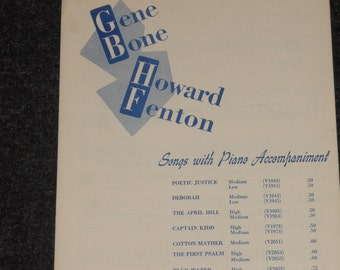 Vintage Sheet Music-Songs WIth Piano Accompaniment-Blue Water-Gene Bone, Howard Fenton-1949