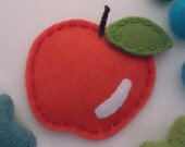 NO SLIP Wool felt hair clip -new apple -coral red