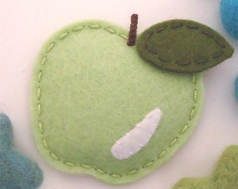 NO SLIP Wool felt hair clip -new apple -spring