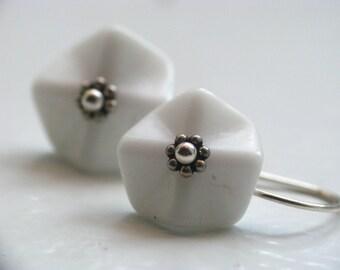 White Ruffled Vintage Glass Earrings in Sterling Silver