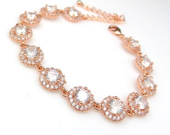bridal bracelet jewelry wedding prom christmas gift party pageant micro pave halo Clear white round cubic zirconia rose pink gold bracelet