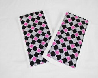 Hot Pink, Black and Grey Lattice Burp Cloths - Set of 2