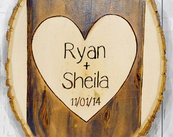 Heart on Tree Plaque, Personalized, Rustic, Wood Burned, Carved