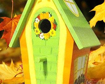 Autumn Decorative Hand Painted Birdhouse