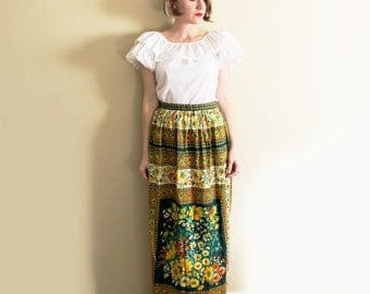 vintage skirt maxi 1960s womens clothing hippie bohemian green yellow wallpaper print size large l
