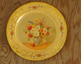 Vintage 50s-60s Dutch Floral Metal Plate Tray Wall Decor Shabby Chic Country Style