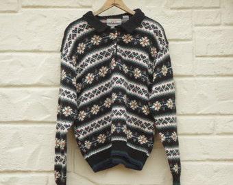 Vintage 90s Fair Isle Collared Sweater Boho Hippie Retro