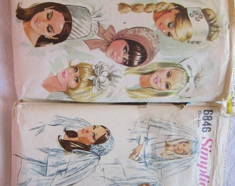 2 vintage patterns - bridal veils, bridal caps, bridal headpieces - circa 1960s - Simplicity 6846 and McCall's 8687 - used