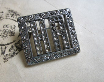vintage marcasite initial brooch - initials H A, HA - art deco, vintage brooch