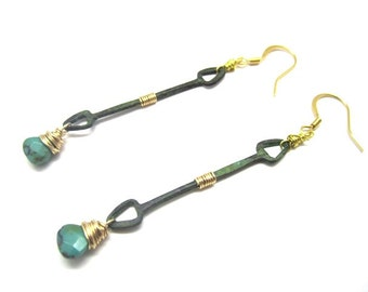 Verdigris Arrow with Turquoise Drop Earring