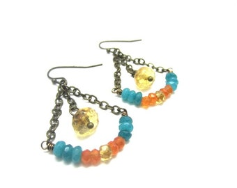 Trapeze Earrings with Citrine, Carnelian, and Aquamarine Stones