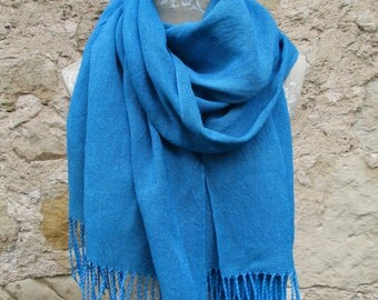 """Handwoven Linen Flax Bright Turquoise Scarf (Shawl)- Pure Linen, """"Nordic silk"""" scarf, hand woven hand dayed shawl, extra quality linen shawl"""