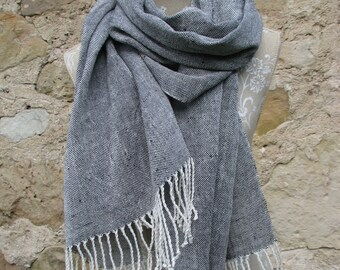 Handwoven Linen Flax Black and White Scarf (Shawl)- Pure Linen