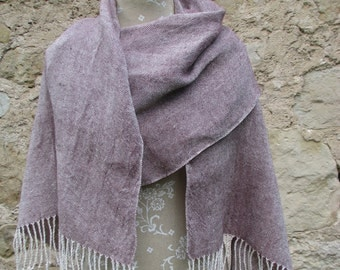 Handwoven Linen Flax Dark Maroon and White Scarf (Shawl)- Pure Linen