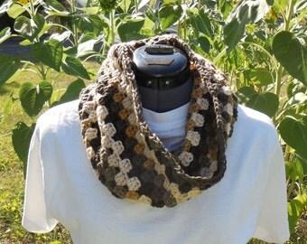 Textured Granny Cluster Cowl Scarf, Crochet Loop, Neck Warmer Scarf, Beachwood Stripes