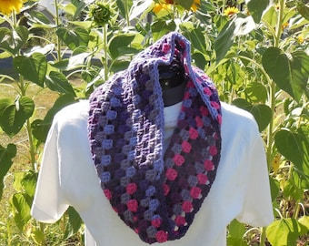 Cluster Cowl Scarf for Women/Wildberry Striped Crochet Loop/Neck Warmer Scarf