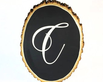 Large Rustic Wood Chalkboard, Oval Shaped with easel
