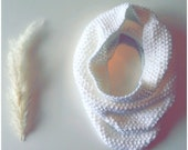 Cowl/ neck warmer- knitted- white- unisex- warm- soft- perfect for fall- Ready to Ship