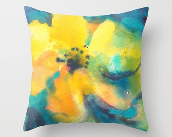 Floral Yellow and Blue Watercolor Throw Pillow Cover