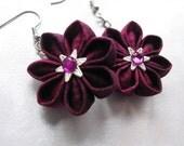 Marvelous Magenta Kanzashi Flower Drop Earrings