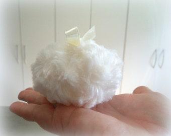 La Petite Creme Powder Puff - soft creamy ivory - miniature pouf - gift box option -  powderpuff by Bonny Bubbles