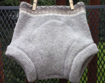 Upcycled Wool Diaper Cover, Soaker, extra layer, medium-large, gray