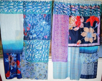 PAIR Scarf Curtain Panels, Gypsy, Boho, 80 x 62 Inches Total, Scarves Over Blue Lace Curtains